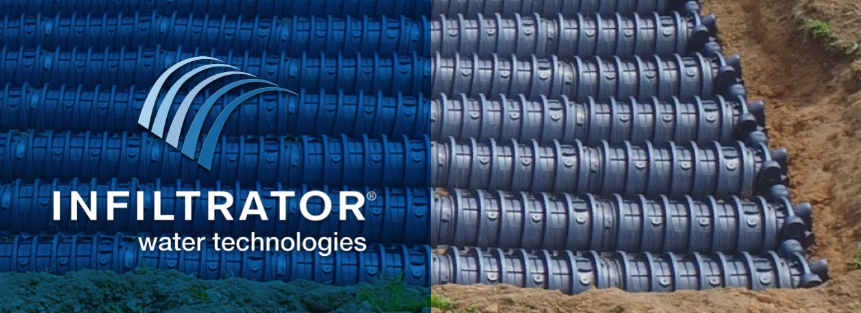 Infiltrator Water Technologies logo with Infiltrator tanks
