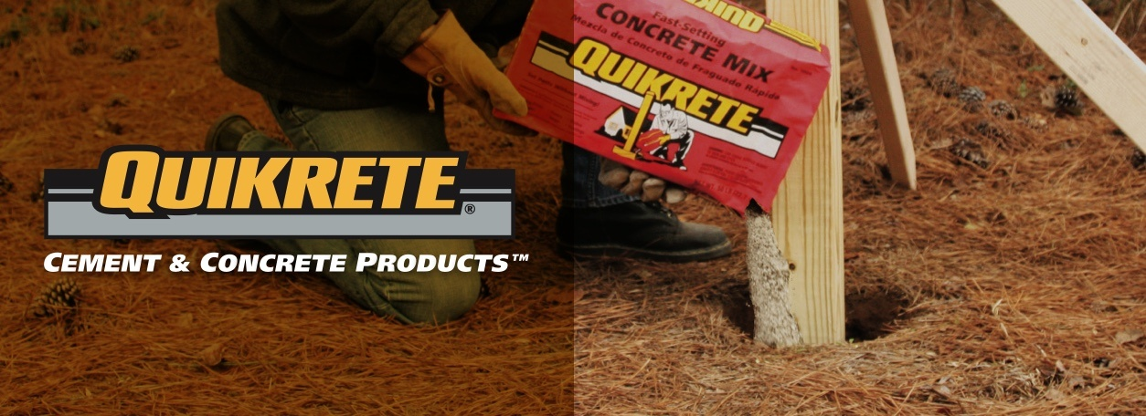 Quikrete logo with person pouring concrete