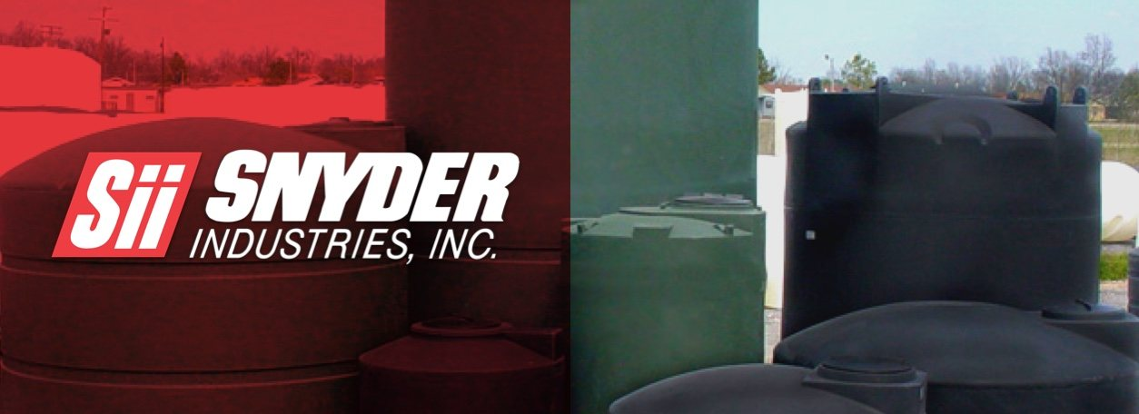 Snyder Industries, Inc. logo with Snyder water tanks
