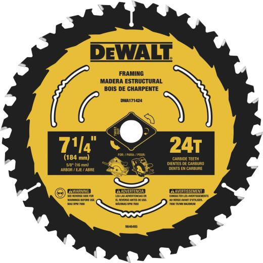DeWalt ToughTrack 7-1/4 In. 24-Tooth Framing Circular Saw Blade, Bulk