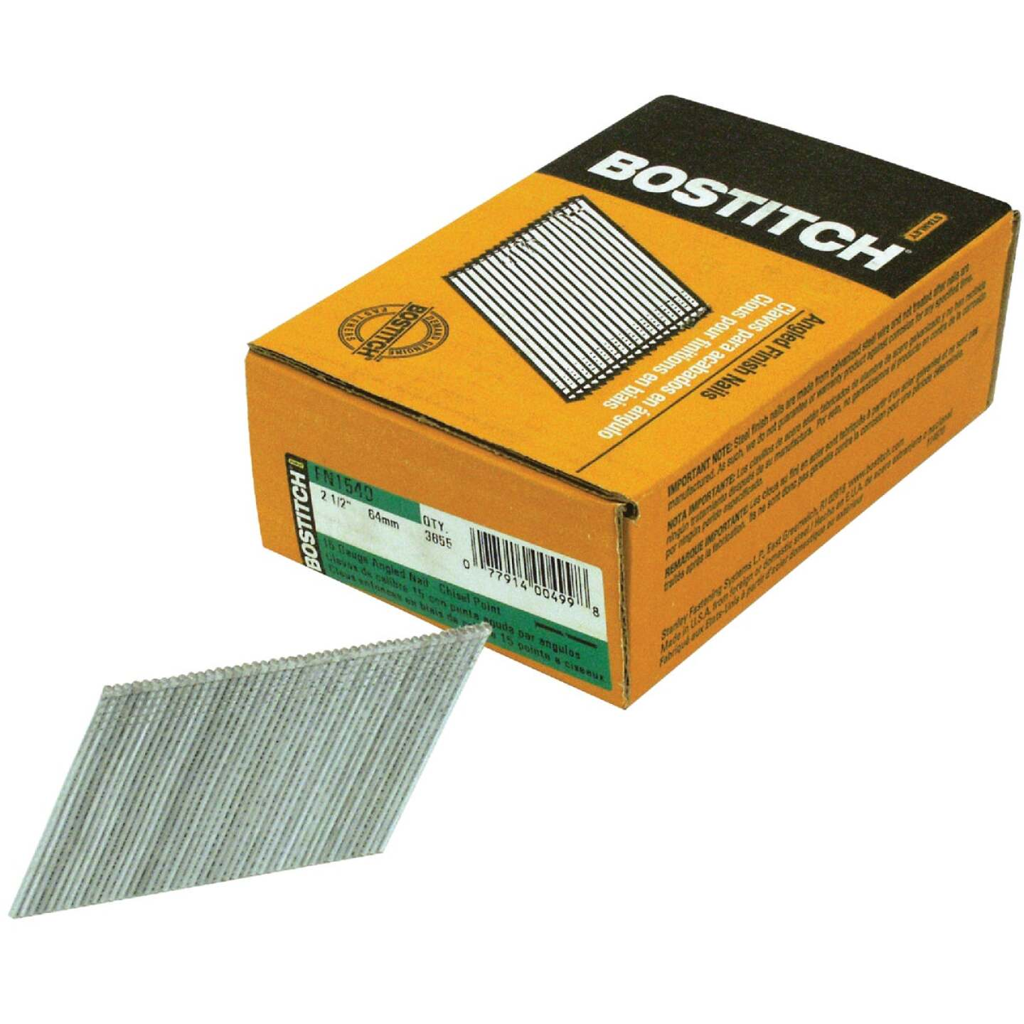 Bostitch 15-Gauge Coated 25 Degree FN-Style Angled Finish Nail, 2-1/2 In. (3655 Ct.) Image 1