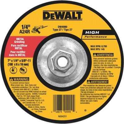 DeWalt HP Type 27 7 In. x 1/4 In. x 5/8 In.-11 Metal Grinding Cut-Off Wheel