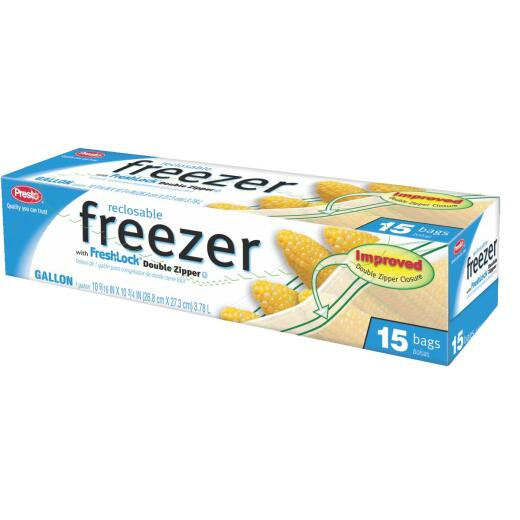 Presto 1 Gal. Reclosable Double Zipper Freezer Bag (15 Count)