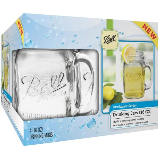 Ball 16 Oz. Drinking Mug Canning Jar (4 Pack)