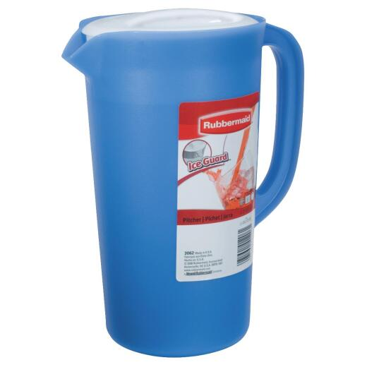 Rubbermaid Blue Plastic Pitcher with White Lid, 2.25 Qt.