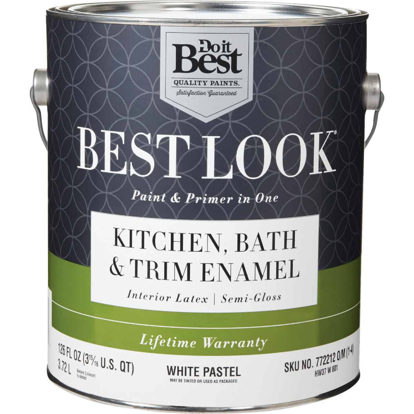 Best Look Latex Paint & Primer In One Kitchen Bath & Trim Semi-Gloss Interior Wall Paint, White-Pastel Base, 1 Gal. Image 1