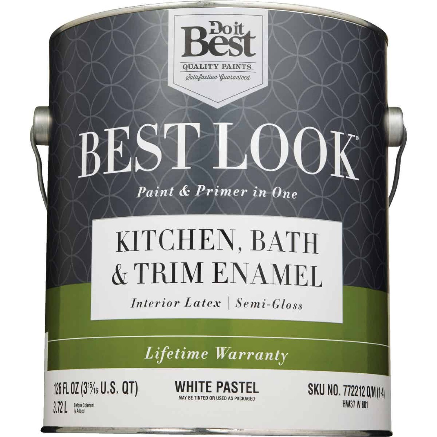 Best Look Latex Paint & Primer In One Kitchen Bath & Trim Semi-Gloss Interior Wall Paint, White-Pastel Base, 1 Gal. Image 2