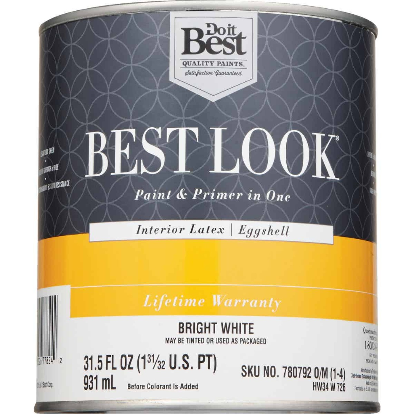 Best Look Latex Paint & Primer In One Eggshell Interior Wall Paint, Bright White, 1 Qt. Image 2