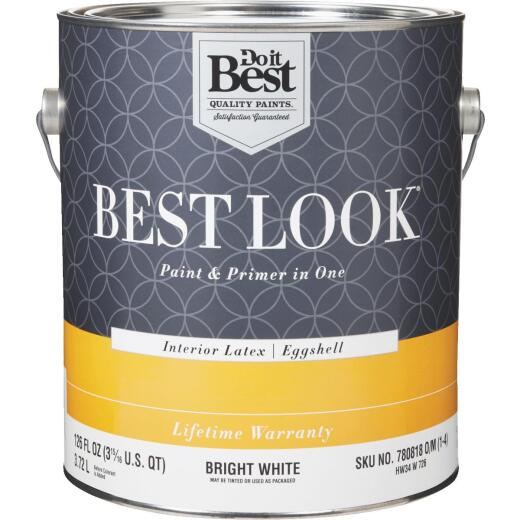 Best Look Latex Paint & Primer In One Eggshell Interior Wall Paint, Bright White, 1 Gal.