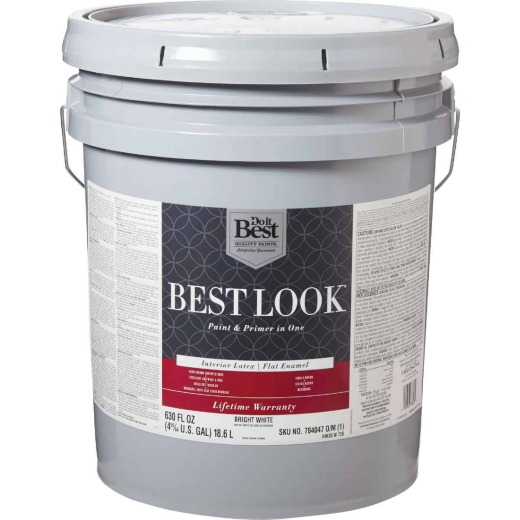 Best Look Latex Paint & Primer In One Flat Enamel Interior Wall Paint, Bright White, 5 Gal.