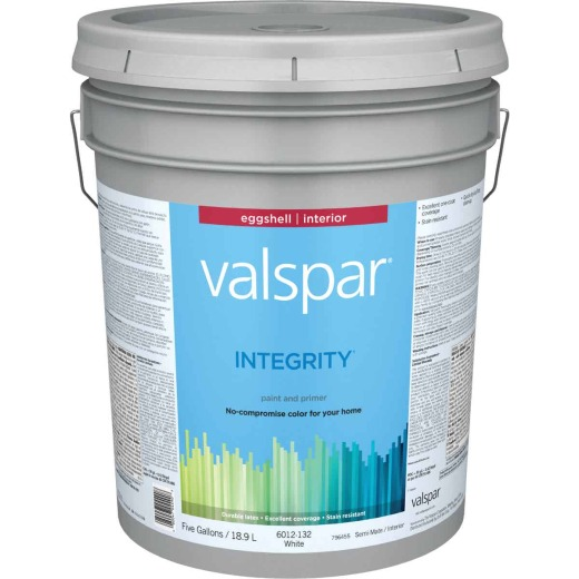 Valspar Integrity Latex Paint And Primer Eggshell Interior Wall Paint, White, 5 Gal.